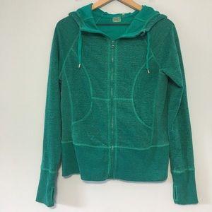 Zella teal zip up hooded sweatshirt M